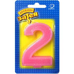 Свеча-цифра для торта «2» Блеск