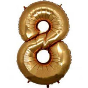 Фольгированный шар-цифра «8 Золото»