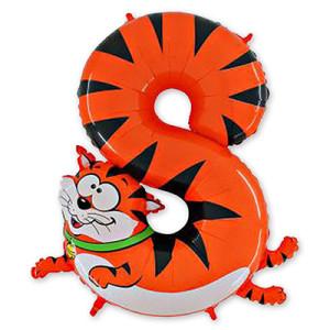 Фольгированный шар-цифра «8 Кот»