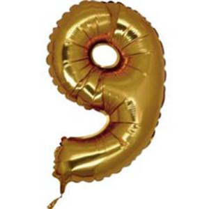 Фольгированный шар-цифра «9 Золото»