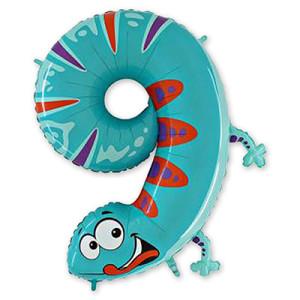 Фольгированный шар-цифра «9 Ящерица»