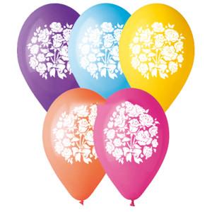 Воздушный шар 10 дюймов с рисунком «Букет роз Красный»
