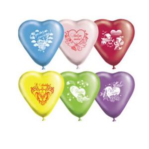 Воздушный шар Сердце 10 дюймов с рисунком «Любовь-Амурчики»