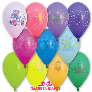 Воздушный шар 10 дюймов с рисунком Ассорти