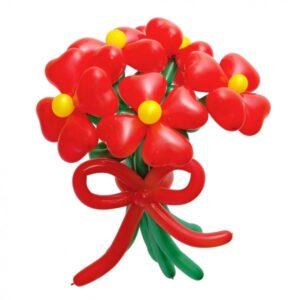 Цветок из шаров-сердечек. Цена за 1 цветок- 3 р.