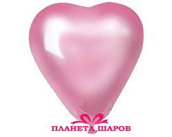 Воздушный шар 10 дюймов «Сердце Металлик Розовое»