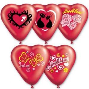 Воздушный шар 10 дюймов Сердце Красное с рисунком «Люблю»